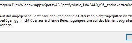 Screenshot des App-Zugriff Fehlers in Windows 10
