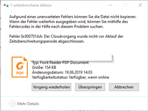 Screenshot des Fehlers 0x800701AA